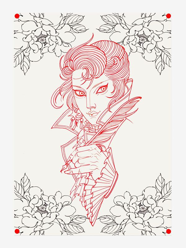 Line drawing by Claudia De Sabe tattoo eBook